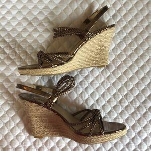 Michael Kors bronze sandal heels